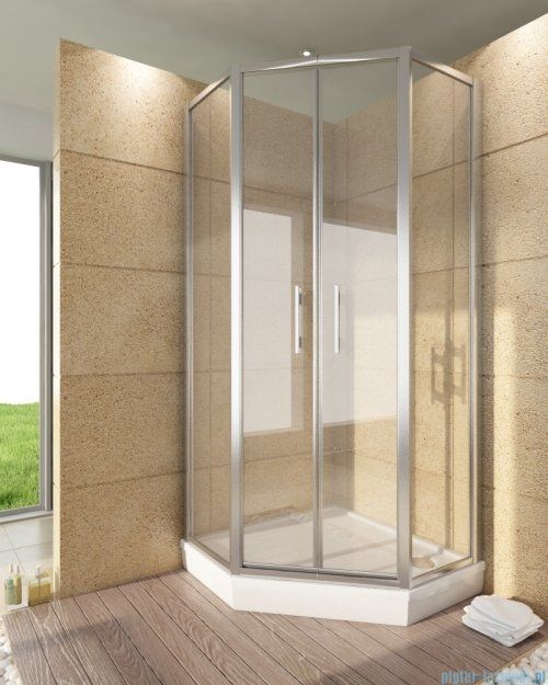 SanSwiss Top-Line Pięciokątna kabina prysznicowa TOP52 z drzwiami otwieranymi 100x100cm Durlux/srebrny mat TOP5271000122