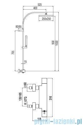 Tres Cuadro-Tres Zestaw termostatyczny natryskowy 1.07.395