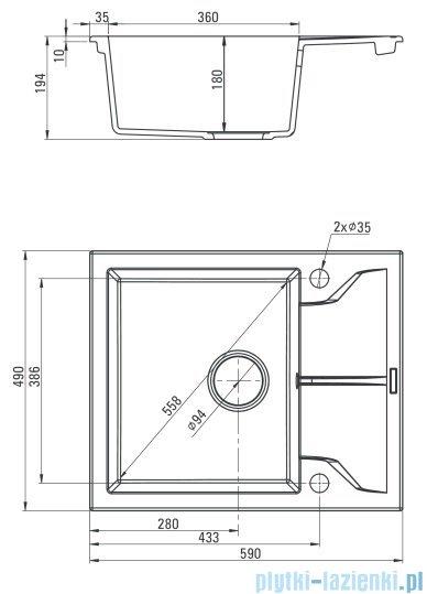 Deante Andante zlewozmywak 1-komorowy z krótkim ociekaczem alabaster ZQN A11A