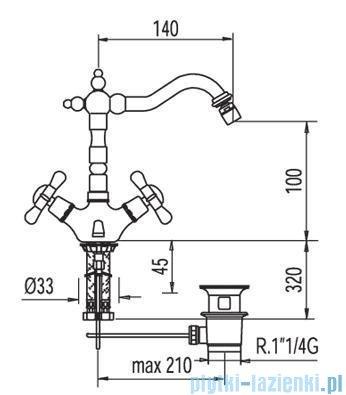 Tres Retro-Tres Bateria bidetowa z korkiem automatycznym 1.29.124.61