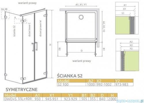 Radaway Arta Dwd+s kabina 95 (55L+40R) x100cm prawa szkło przejrzyste 386180-03-01R/386058-03-01L/386112-03-01