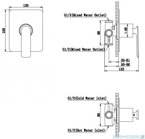 Kohlman Experience gray podtynkowa bateria wannowa szczotkowany grafit QW220EG