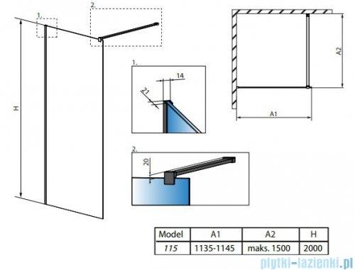 Radaway Modo X Black II Frame kabina Walk-in 115x200 szkło 10mm 389315-54-56
