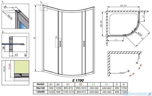 Radaway Premium Plus E Kabina półokrągła z drzwiami przesuwnymi 120x90x170 szkło brązowe 30483-01-08N