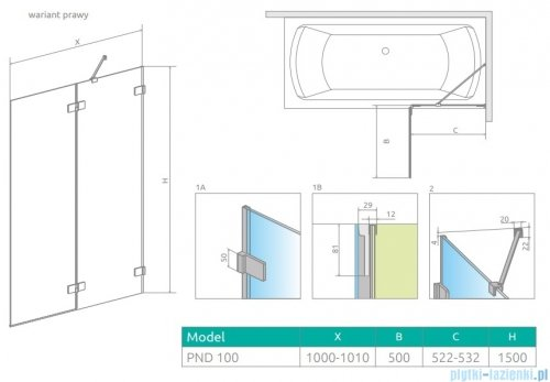 Radaway Euphoria Pnd II parawan nawannowy 100cm prawy szkło przejrzyste 10008100-01-01R