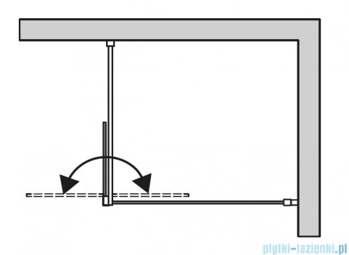 SanSwiss Cadura Black Line kabina Walk in 140cm lewa ze ścianką ruchomą profile czarny mat CADUOG1400607