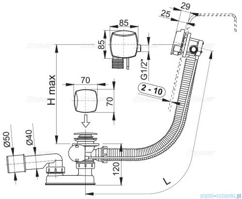 Alcaplast  syfon wannowy z funkcją napełniania przez przelew chrom A564KM3-100