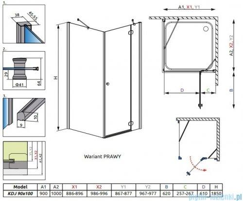Radaway Torrenta Kdj Kabina prysznicowa 90x100 prawa szkło przejrzyste + brodzik Doros D + syfon rysunek techniczny