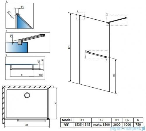 Radaway Modo New II z wieszakiem kabina Walk-in 155x200 szkło przejrzyste 389155-01-01W