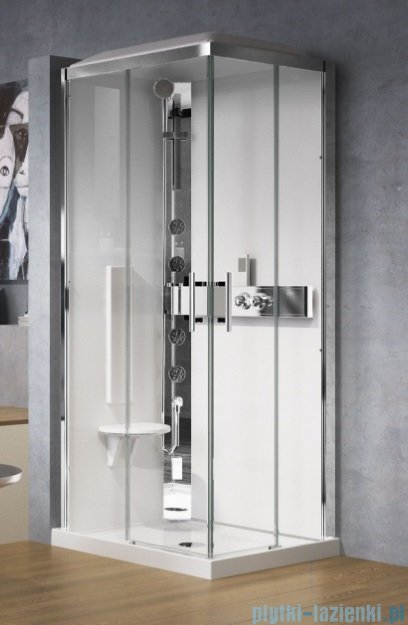 Novellini Glax 3 kabina z hydromasażem 90x70 lewa srebrny GL3A7099ST1-1B