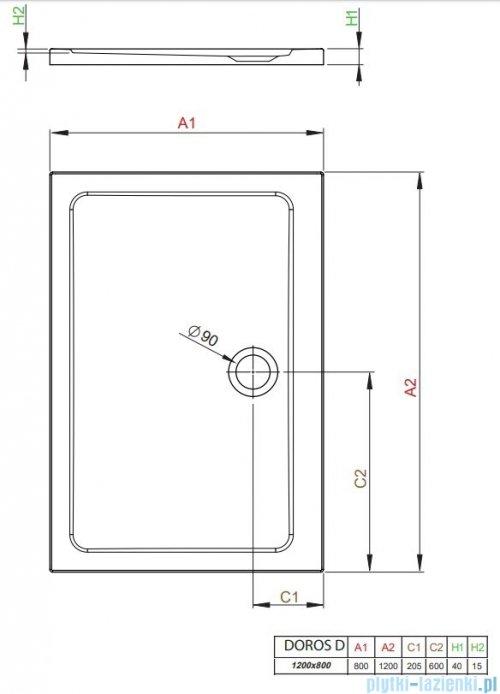 Radaway Doros Plus D Brodzik prostokątny 120x80x4cm SDRPD1280-01