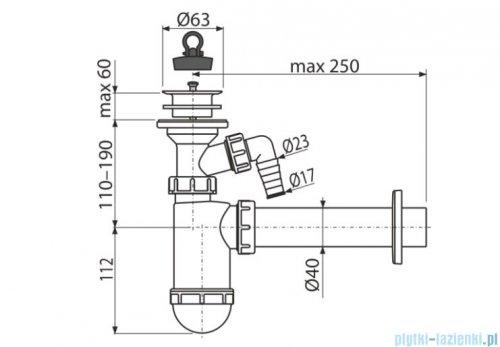 Alcaplast syfon umywalkowy DN40 z przyłączem, sitko z tworzywa DN63 A42P