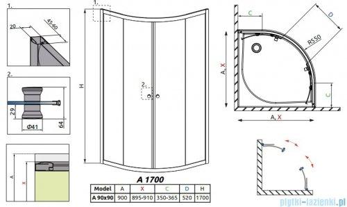 Radaway Classic A Kabina prysznicowa półokrągła z drzwiami przesuwnymi 90x90x170 szkło satinato profile białe 30001-04-02