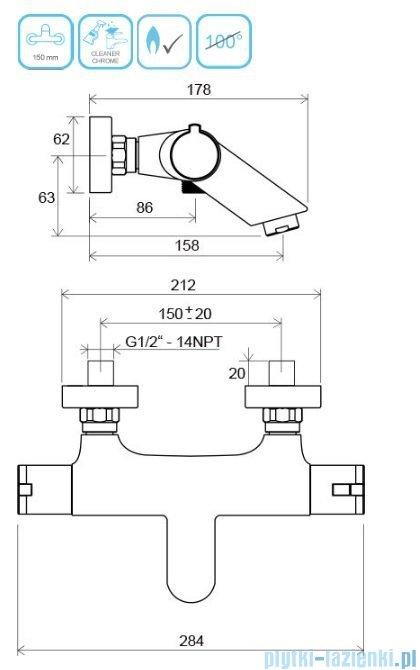 Ravak Termo bateria wannowa ścienna termostatyczna X070047