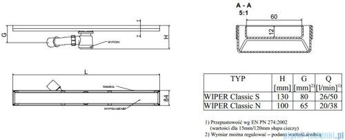 Wiper Odpływ liniowy Classic Tivano 110cm bez kołnierza mat T1100MCS100