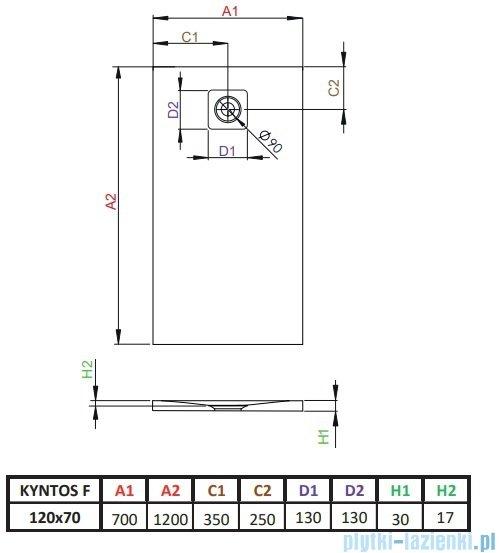 Radaway Kyntos F brodzik 120x70cm biały HKF12070-04