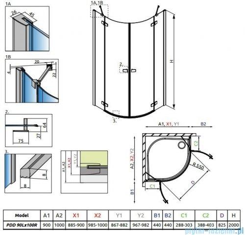 Radaway Fuenta New Pdd kabina 90x100cm szkło przejrzyste 384001-01-01L/384003-01-01R