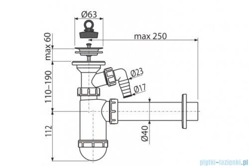 Alcaplast syfon umywalkowy DN40 z przyłączem, sitko nierdzewne DN63 A41P