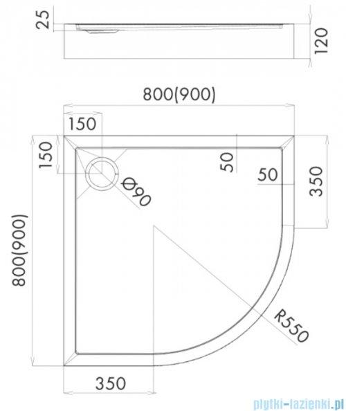 Schedpol Schedline Cameron brodzik półokrągły 80x80x12cm 3ST.C1O-8080