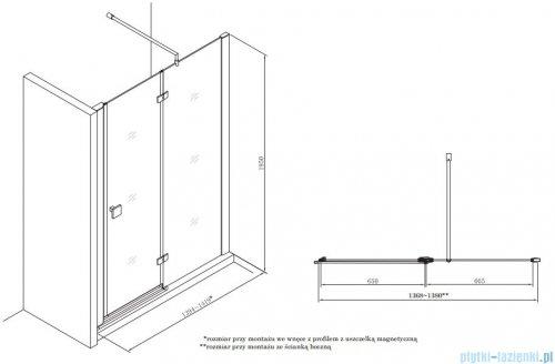 Roca Metropolis drzwi prysznicowe 140cm szkło przejrzyste AMP3414012M