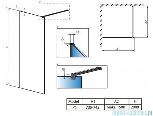 Radaway Modo New Black II 75x200 Frame kabina Walk-in 389075-54-56 rysunek techniczny