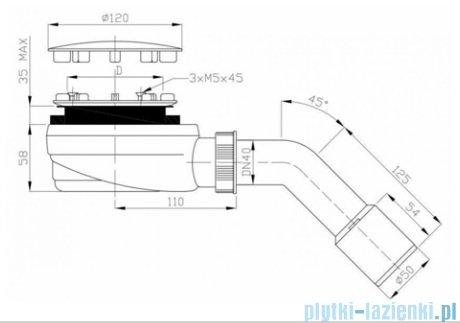 Schedpol Schedline syfon brodzikowy czarny mat 90mm SDB90PB