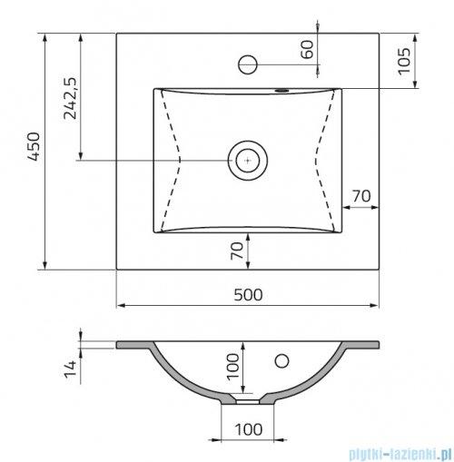 rysunek techniczny Oristo Silver umywalka meblowa konglomeratowa 50x45cm UME-SI-50-92