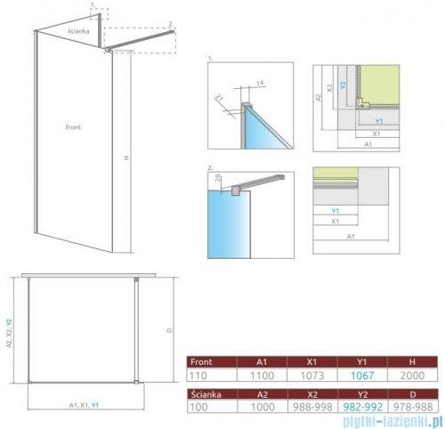 Radaway Modo New IV kabina Walk-in 110x100 szkło przejrzyste 389614-01-01/389104-01-01