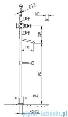 Tres Retro-Tres Bateria wannowa z termostatem i podłogowymi przyłączami wody 1.90.194