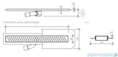 Wiper New Premium Zonda Odpływ liniowy z kołnierzem 60 cm szlif rysunek techniczny