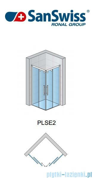 SanSwiss Pur Light S PLSE2 SM Drzwi narożne rozsuwane 70-120cm profil biały szkło przejrzyste Prawe PLSE2DSM20407
