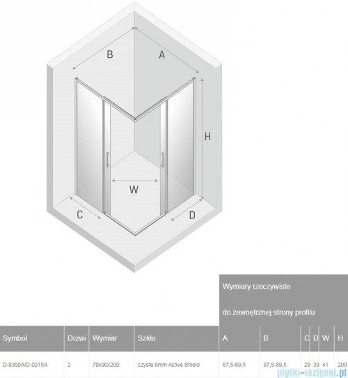 New Trendy Prime Black kabina prostokątna 70x90x200 cm przejrzyste D-0350A/D-0315A