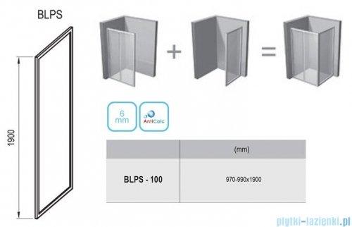 Ravak Blix BLPS ścianka boczna stała 100cm satyna transparent Anticalc 9BHA0U00Z1