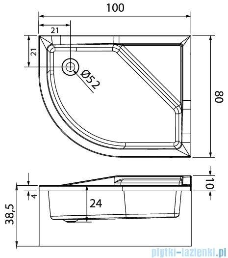 New Trendy Maxima brodzik asymetryczny z podwyższonym siedziskiem 100x80x38,5 cm prawy B-0368