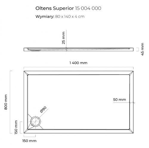 Oltens Superior brodzik prostokątny 140x80 cm 15004000