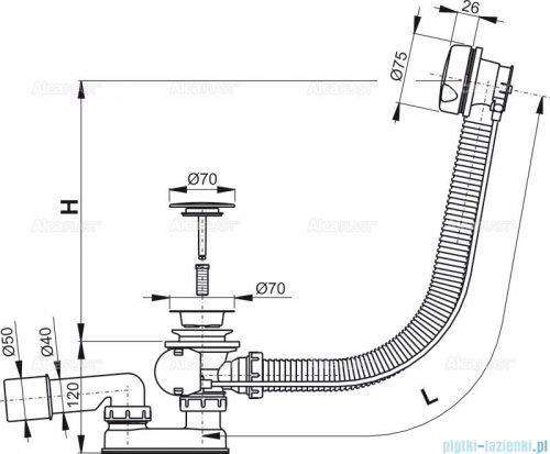 Alcaplast  syfon wannowy automatyczny biały A51BM-80