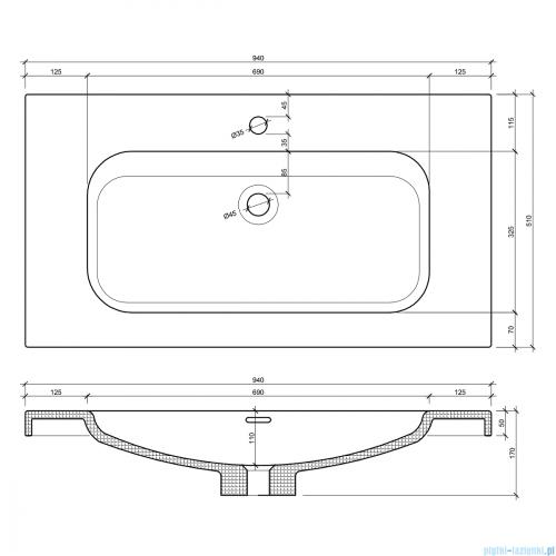 Elita Lofty szafka z umywalką 91x69x48cm light grey 167278/145300