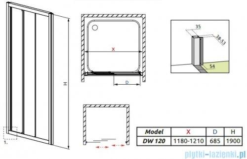 Radaway Treviso DW Drzwi wnękowe 120 szkło brązowe 32333-01-08N