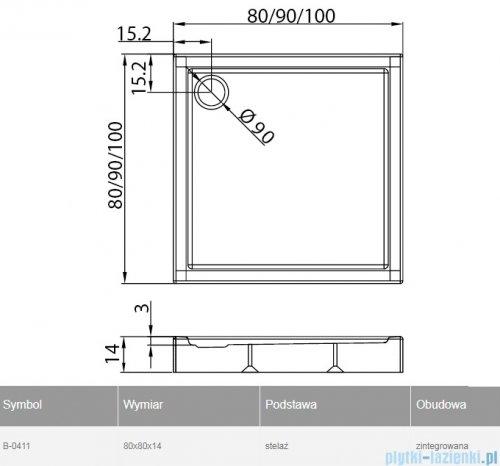 New Trendy Columbus brodzik kwadratowy zintegrowany 80x80x14cm B-0411