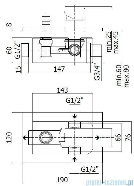 Paffoni  Bateria natryskowa podtynkowa z przełącznikiem ELLE chrom EL015CR