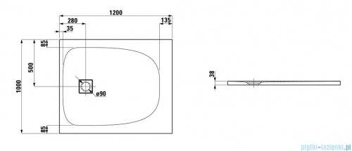Laufen Solutions brodzik prostokątny 120x100cm biały H2164420000001