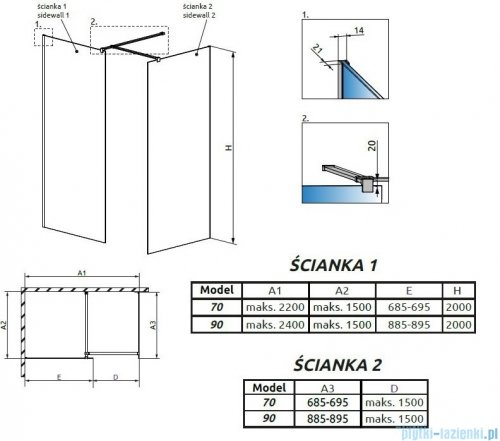 Radaway Modo New Black III kabina Walk-in 70x90x200 szkło przejrzyste 389074-54-01/389094-54-01/389000-54