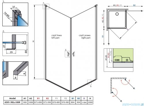 Radaway Nes Black Kdd I Frame kabina 90x100cm 10021090-54-56L/10021100-54-56R