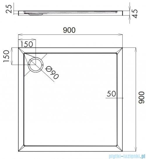 Omnires Merton brodzik akrylowy kwadratowy 90x90 cm Merton90/K