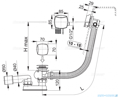 Alcaplast  syfon wannowy z funkcją napełniania przez przelew do wanien grubościennych, chrom A565KM3