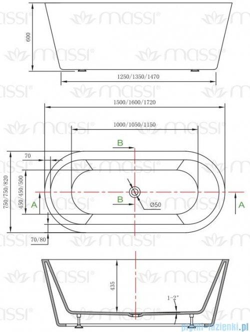 Massi Thermo 160 wanna wolnostojąca 160x75cm biała + syfon MSWA812160