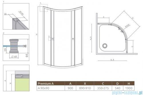 Radaway Premium A Kabina półokrągła 90x90x190 szkło satinato 30403-01-02