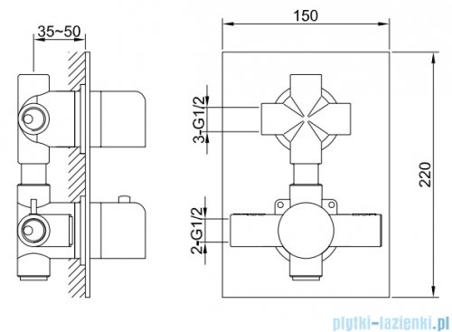 Kohlman Excelent zestaw prysznicowy z baterią termostatyczną chrom rysunek techniczny