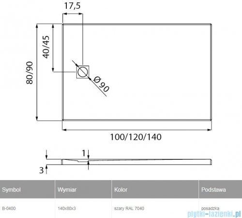 New Trendy Mori brodzik prostokątny z konglomeratu 140x80x3 cm szary B-0400