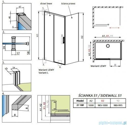 Radaway Idea Black Kdj ścianka boczna 100cm prawa szkło przejrzyste 387052-54-01R